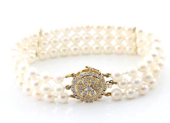 Three Strand Pearl & Diamond Bracelet