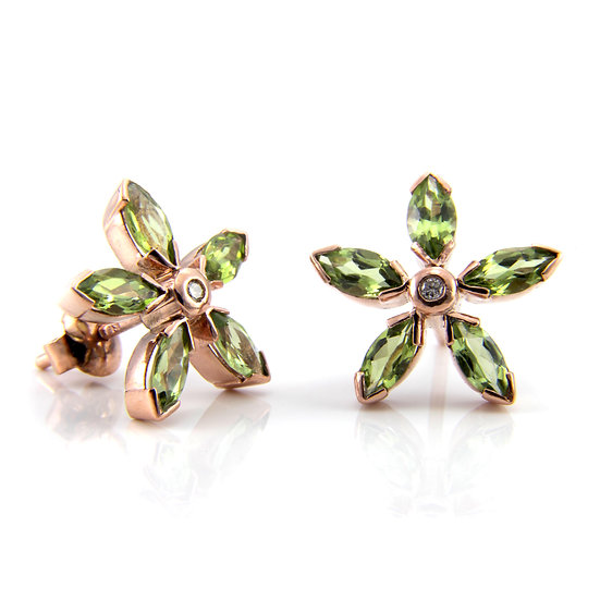 Peridot & Diamond Cluster Flower Earrings