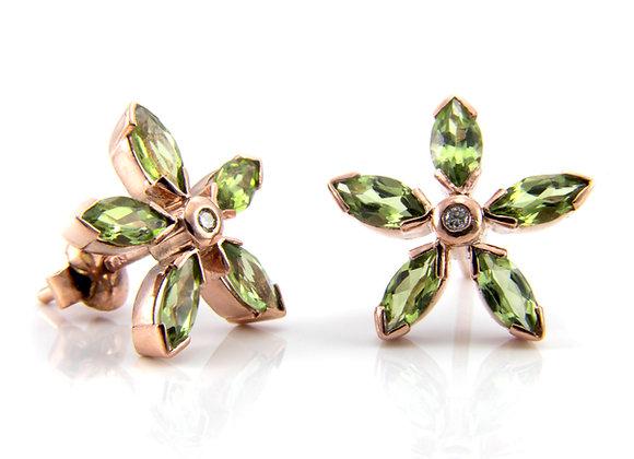 Peridot & Diamond Cluster Flower Earrings