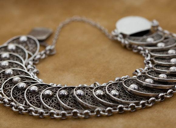 Silver Filigree Panel Link Bracelet