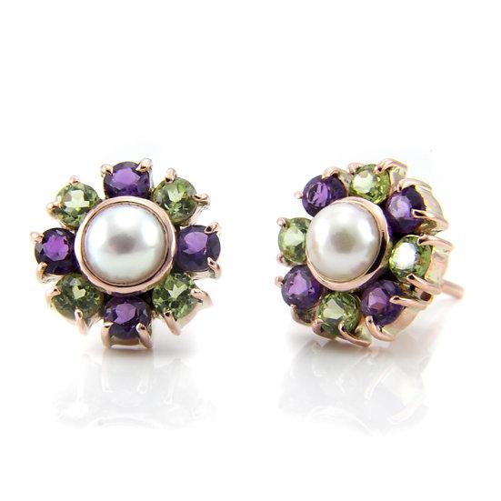 Suffragette Amethyst, Peridot & Pearl Earrings