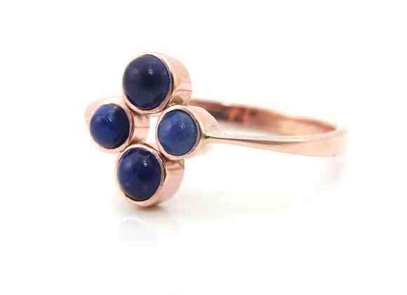 Rose Gold Lapis Lazuli Cluster Ring
