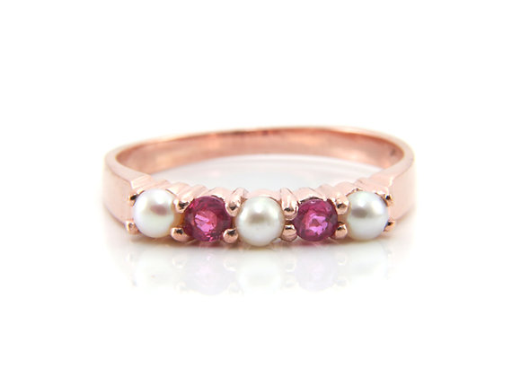 Rose Gold Five Stone Ruby Pearl Ring