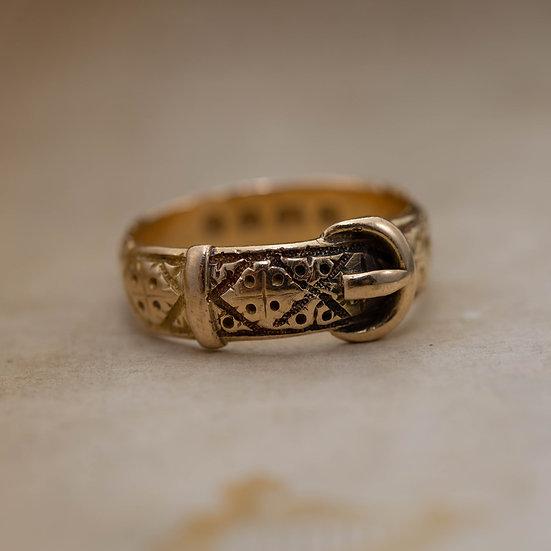 Gold Georgian Buckle Ring