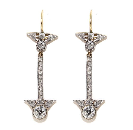 Art Deco Diamond Cluster Drop Earrings