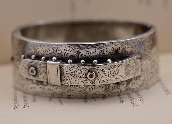 Silver Victorian Buckle Bangle