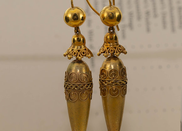 Gold Victorian Drop Earrings