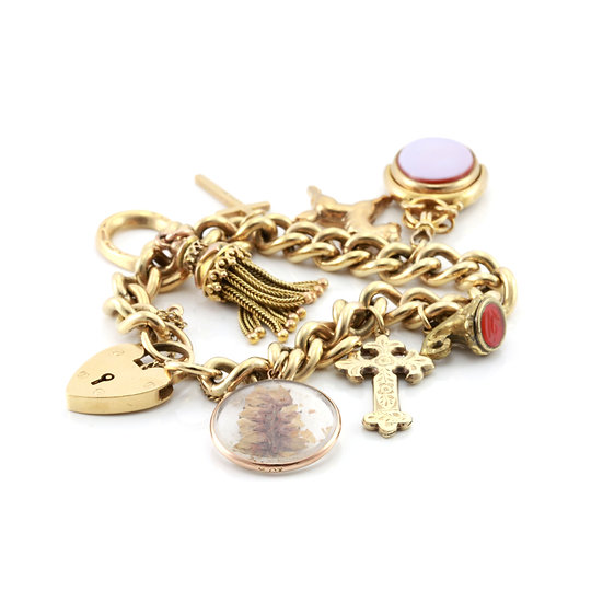 Antique Gold Multi Charm Bracelet with Tassle