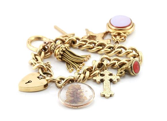 Antique Gold Multi Charm Bracelet with Tassle