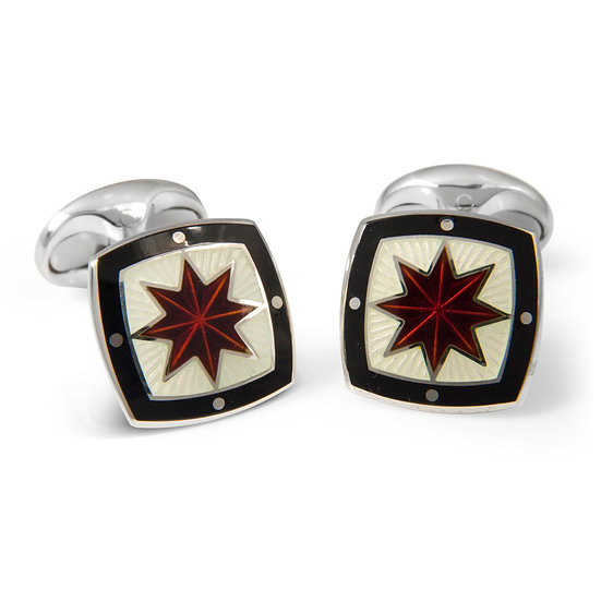 Black, Maroon & Cream Enamel Cufflinks