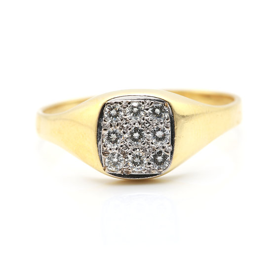 Gents Square Head Diamond Cluster Ring