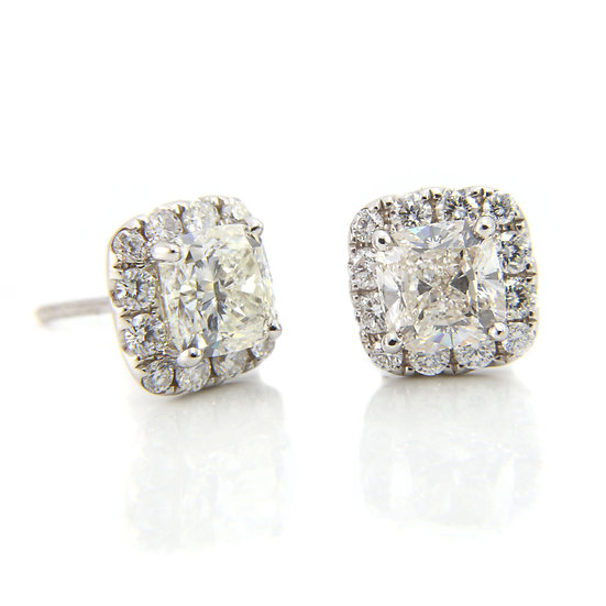White Gold Cushion Cut Diamond Stud Earrings