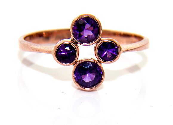 Amethyst Four Stone Cluster Ring