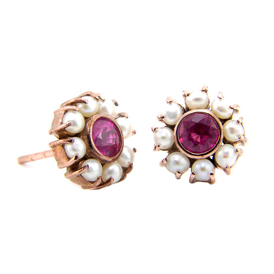 Rose Gold Ruby & Pearl Earrings