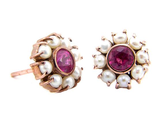 Rose Gold Ruby & Pearl Earrings