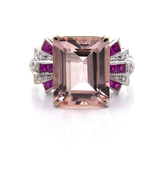 Morganite Ruby & Diamond Cluster Ring