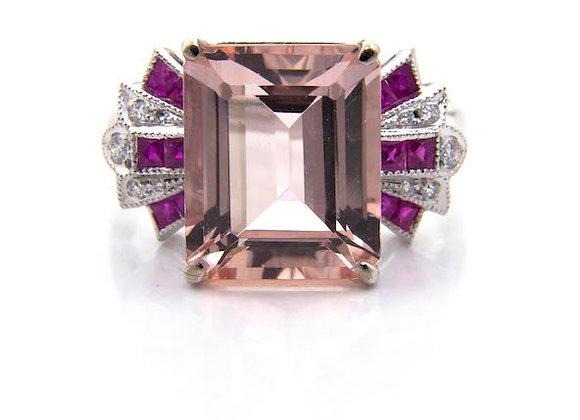 Morganite Ruby & Diamond Cluster Ring
