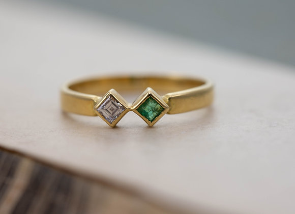 Emerald and Diamond Two Stone Ring