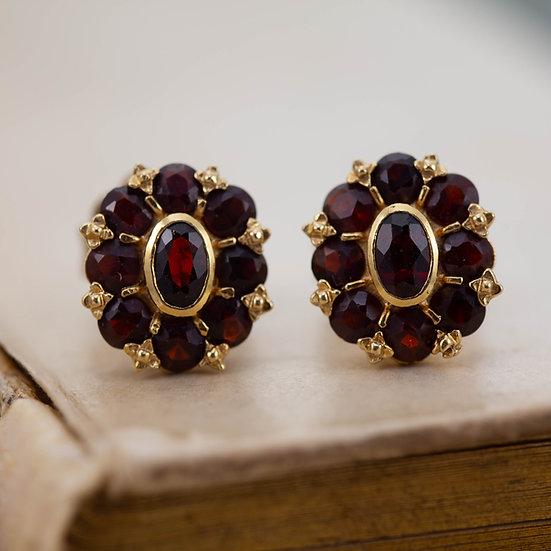 Garnet Cluster Stud Earrings