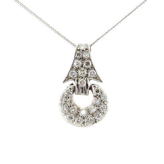 Diamond Crescent Shaped Cluster Pendant