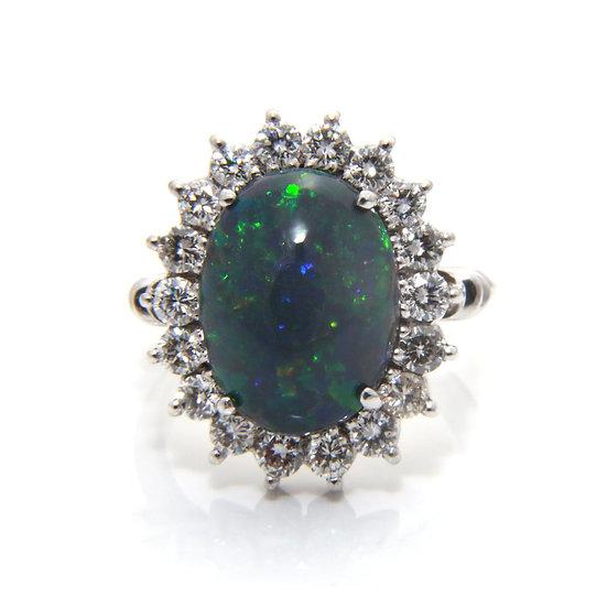 Black Opal & Diamond Cluster Ring