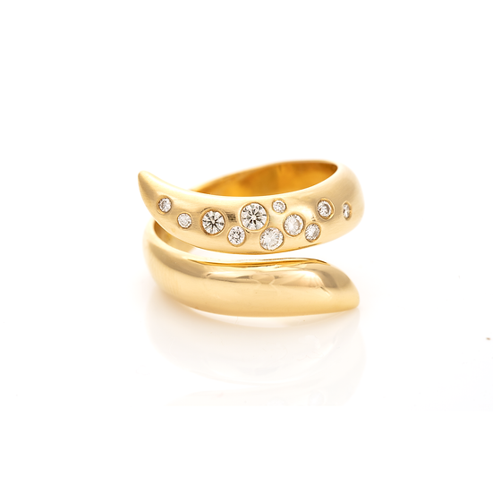 Gold Diamond Set Snake Ring