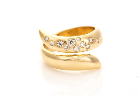 Gold Diamond Set Snake Ring