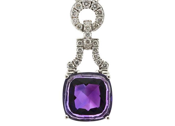 Amethyst and Diamond Drop Pendant