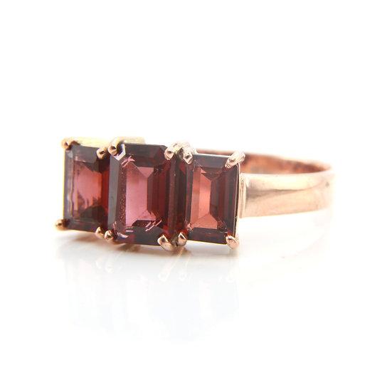 Garnet Three Stone Rose Gold Ring