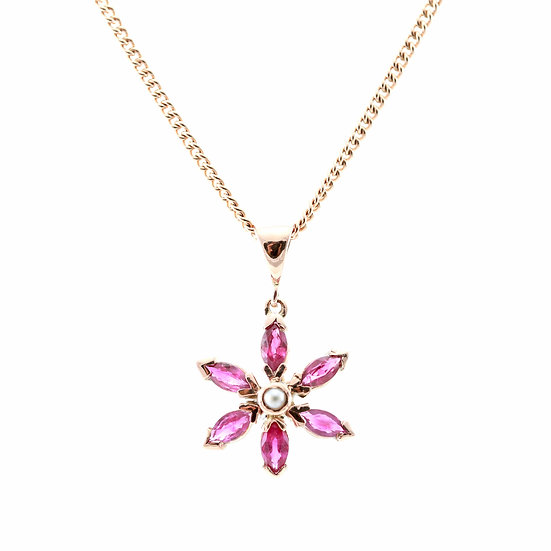 Rose Gold Ruby & Pearl Flower Pendant