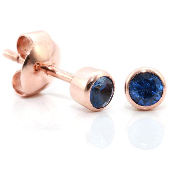 Round Blue Sapphire Stud Earrings