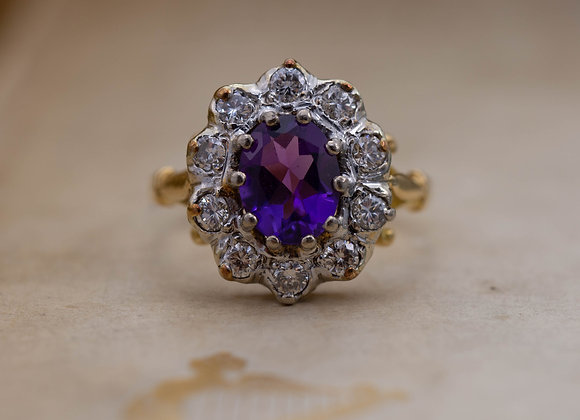 Oval Amethyst and Diamond Cluster Ring