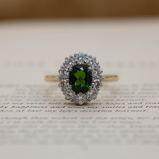 Tourmaline and Diamond Cluster Ring