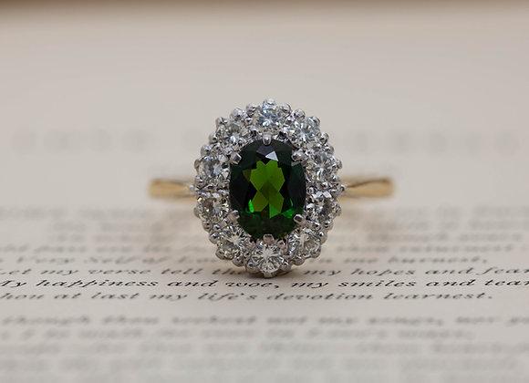 Tourmaline and Diamond Cluster Ring
