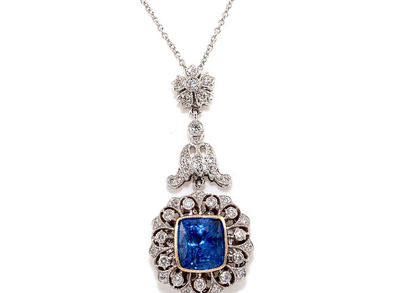 Art Deco Style Sapphire &Diamond Pendant