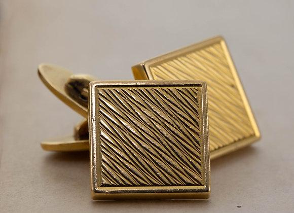 Embossed Square Gold Cufflinks