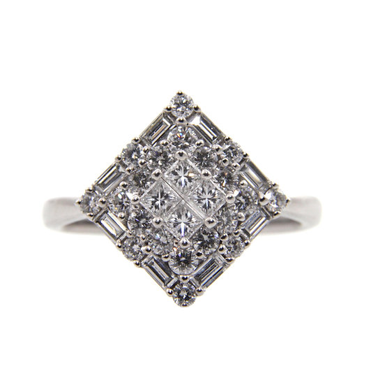 Kite Shaped Diamond Cluster Ring