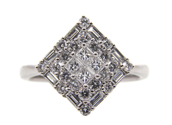 Kite Shaped Diamond Cluster Ring