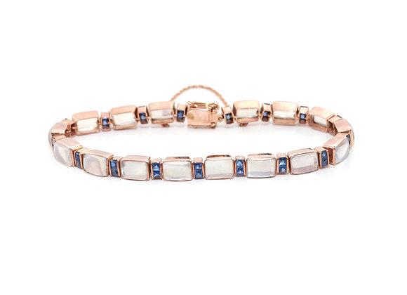 Moonstone and Sapphire Rose Gold Bracelet