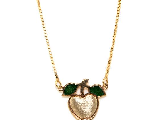 Green Enamel Leaf andBrushed Gold Apple Pendant