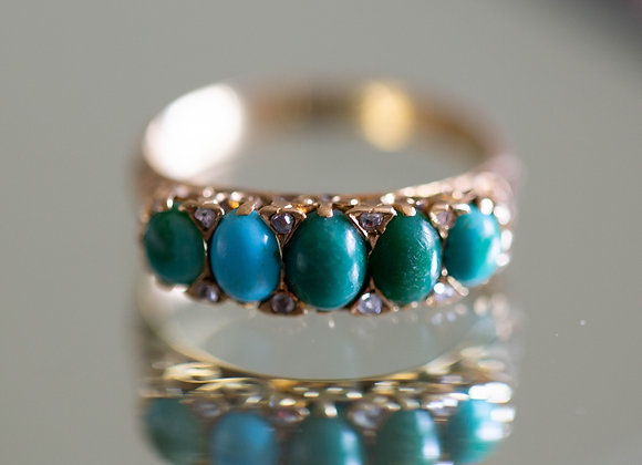 Turquoise and Diamond Half Hoop Ring