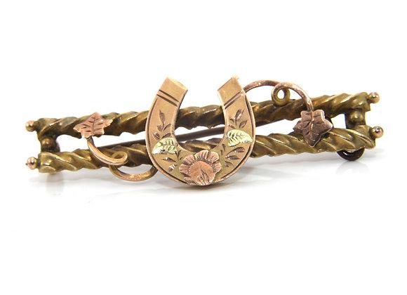 Gold Horseshoe Brooch
