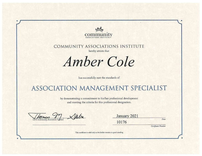 CONGRATS TO AMBER COLE...