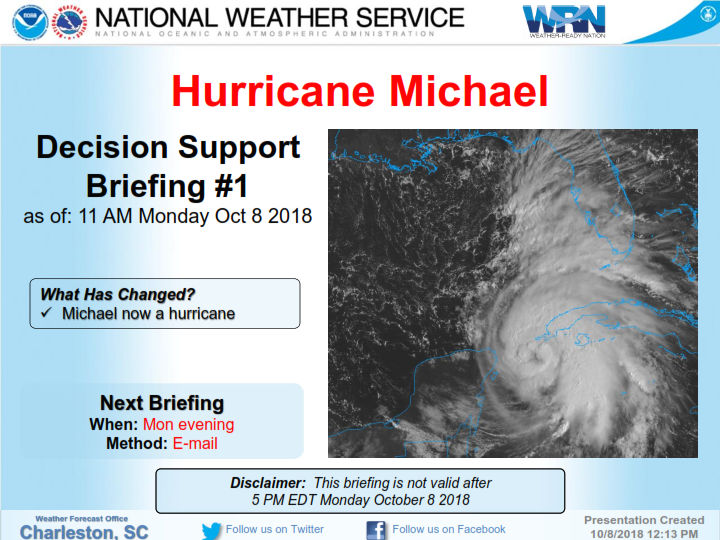 Hurricane Michael Update October 8, 2018 12:30pm