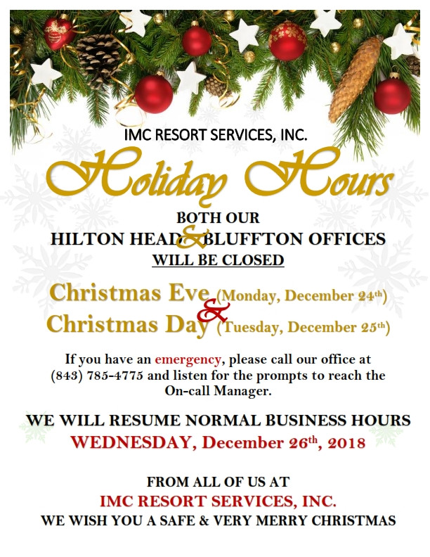 IMC HOLIDAY HOURS
