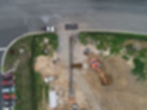 Aerial site photo of a water line we are installing.