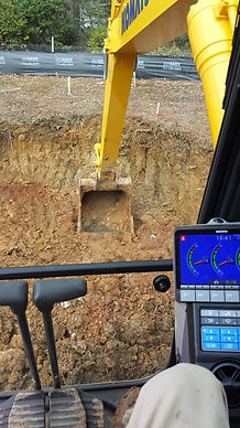 Operator's view from the cab of our new Komatsu Excavator.