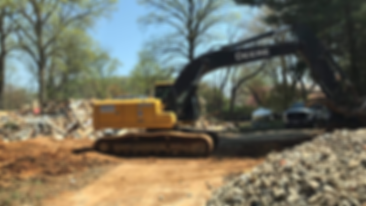 Our excavator at a job site.