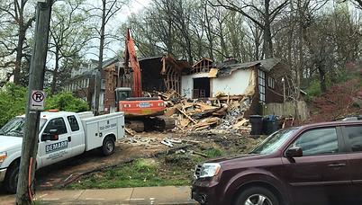 Our excavator demolishing a house in Arlington, VA.