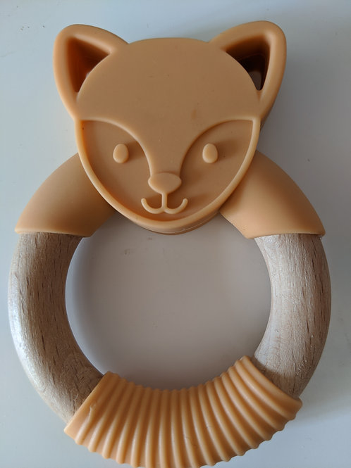 Fox silicone and beechwood Teether